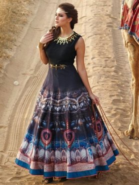 Delighful Blue Designer Anarakali Gown