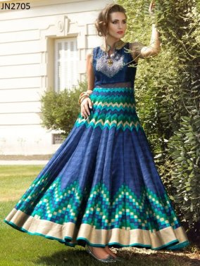 Georgeous Blue Digital Print Partywear Gown