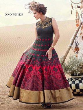 Glamorous Red & Black Designer Party wear Gown
