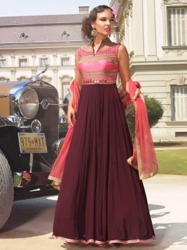 Graceful Pink & Purple Beautiful Partywear Long Gown
